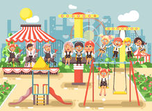 Vector illustration of cartoon characters children schoolboys schoolgirls classmates resting in amusement park ride on Stock Photos