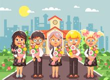 Vector illustration cartoon characters children schoolchildren classmates pupils students standing with bouquets flowers Royalty Free Stock Photo