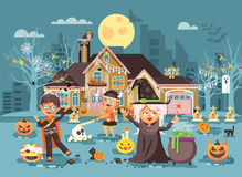 Vector illustration cartoon characters children Trick-or-Treat, boy, girl costumes, fancy dresses celebrate holiday Royalty Free Stock Photo