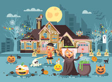 Vector illustration cartoon characters children Trick-or-Treat, boy, girl costumes, fancy dresses celebrate holiday Royalty Free Stock Photography