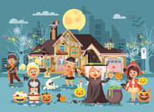 Vector illustration cartoon characters children Trick-or-Treat, boy, girl costumes, fancy dresses celebrate holiday Royalty Free Stock Photos