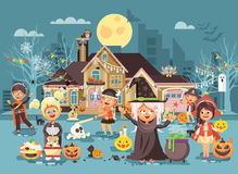 Vector illustration cartoon characters children Trick-or-Treat, boy, girl costumes, fancy dresses celebrate holiday Royalty Free Stock Image