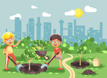 Vector illustration cartoon characters of children two little boys dig hole in ground for planting in garden seedlings. Stock vector illustration cartoon stock illustration