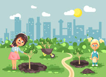 Vector illustration cartoon characters of children two little girls near dug holes in ground for planting in garden. Stock vector illustration cartoon characters vector illustration