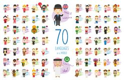 Vector illustration of cartoon characters saying hello and welcome in 70 different languages. Of the world vector illustration