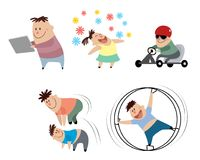 Children in action. Vector illustration of cartoon children in action Royalty Free Stock Photo