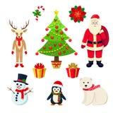 Cartoon Christmas Elements Isolated On White Royalty Free Stock Image