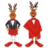 Vector illustration of cartoon Christmas reindeer Stock Photo