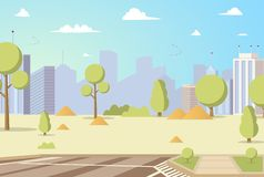Vector Illustration Cartoon City Park Panoramas royalty free illustration