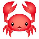 Vector Illustration Cartoon Cute Kawaii Chibi Crab. Vector Illustration cartoon chibi kawaii cute red crab isolated on white background vector illustration