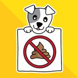 Vector illustration cartoon cute pet. sign warning no dog pooping in park. stock illustration