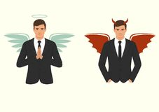 Cartoon devil and angel, good and bad choice, wings, horns and halo. Vector illustration of a cartoon devil and angel, good and bad choice, wings, horns and halo Royalty Free Stock Image