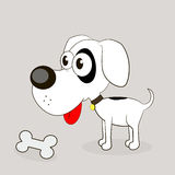 Vector illustration of Cartoon Dog. Beautiful dog bone tasty food vector illustration Royalty Free Stock Image