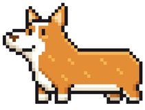 Cartoon Dog. Vector illustration of Cartoon Dog breed welsh corgi - Pixel design Royalty Free Stock Image