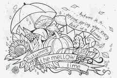 Vector illustration of cartoon doodles at autumn Royalty Free Stock Images