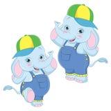 Vector Illustration Of Cartoon Elephants Stock Images