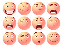 Vector illustration Cartoon facial expressions set. Creative style of smiles with different emotions sadness pain shock joy inspiration anger sadness vector illustration