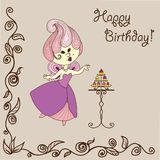 Vector  illustration cartoon fairy eats cake. Vector  illustration - cartoon fairy eats cake. Bithday greeting card for your design Stock Image
