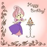 Vector  illustration cartoon fairy eats cake. Stock Photography