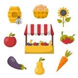 Vector cartoon farm market background Royalty Free Stock Image