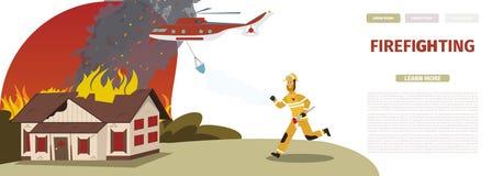 Vector Illustration Cartoon Fire Extinguishing vector illustration