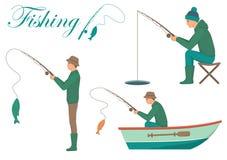 Cartoon fisherman, man cath fish on fishing rod. Vector illustration of a cartoon fisherman, man cath fish on fishing rod Stock Photos