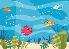 Vector Illustration Of Cartoon Fishes. Eps 10 Royalty Free Stock Image