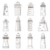Vector cartoon flat set of lighthouses isolated on background stock illustration