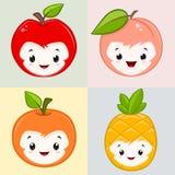 Cute Cartoon Fruits stock illustration