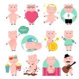 Cartoon funny pig. Set of pigs royalty free illustration