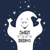 Vector illustration with cartoon ghost and hand drawn lettering. Stock Images