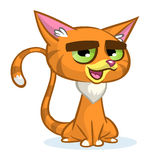 Vector illustration of cartoon ginger cat. Cute red stripped cat with a grumpy expression. Royalty Free Stock Photo