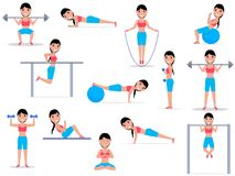 Vector illustration cartoon girl doing exercises. Vector illustration of a cartoon girl doing exercises. Isolated white background. A set of female exercises. A Stock Photography