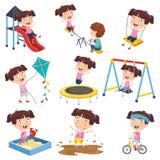 Vector Illustration Of Cartoon Girl Doing Various Activities royalty free illustration