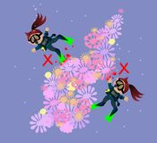 Vector illustration of cartoon girls beginners scuba diver. Royalty Free Stock Photos