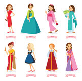 Vector illustration cartoon,girls in the world's traditional costumes Royalty Free Stock Photo