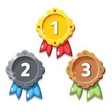 Cartoon gold, silver and bronze medals, isolated vector. Cartoon medals for game design. Vector illustration of cartoon gold, silver and bronze medals Royalty Free Stock Image