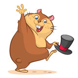 A vector illustration of cartoon groundhog character holding mayor hat Royalty Free Stock Photography