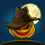 A vector illustration of cartoon Halloween pumpkin with hat  on dark night background with a big full moon behind Royalty Free Stock Photo