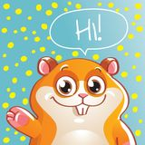 Vector illustration of cartoon hamster. Hi Stock Photo