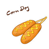 Vector illustration of an  cartoon hand drawn fast food. Corn dog. Stock Image