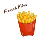 Vector illustration of  cartoon hand drawn fast food. french fries Royalty Free Stock Photography