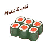 Vector illustration of  cartoon hand drawn fast food. Maki sushi Stock Photo