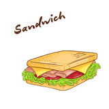 Vector illustration of an  cartoon hand drawn fast food. Sandwich. Stock Images