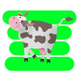 Vector illustration. Cartoon happy cow. Drawing for children. The farm. Stylized animal. Art. Stock Images