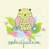 Vector cartoon owl. Vector illustration of a cartoon happy owl. Anticipation Stock Images