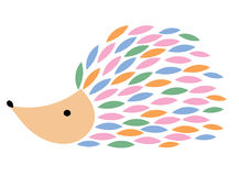 Vector illustration of a cartoon hedgehog. Stylized hedgehog. Art for children. Animal from geometric figures. Forest Royalty Free Stock Image