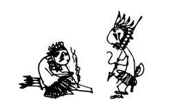 Vector illustration of cartoon Indians. Vector illustration of two cartoon Indians Stock Photography