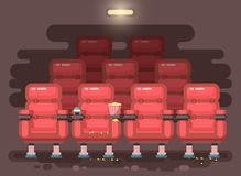 Vector illustration cartoon interior of cinema hall with armchairs for watching film or movie, popcorn, drinks in flat Stock Image