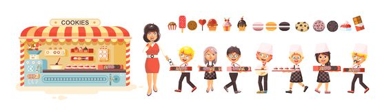 Vector illustration cartoon isolated characters children, pupils, schoolboys, schoolgirls business sale of baking Royalty Free Stock Image